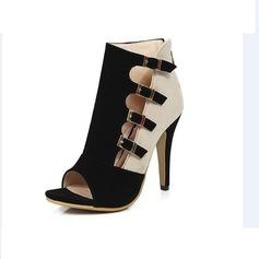 Femmes Suède Talon stiletto Escarpins À bout ouvert avec Boucle chaussures