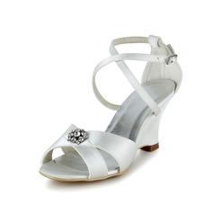 Kvinnor Satäng Kilklack Peep Toe Sandaler med Paljetter