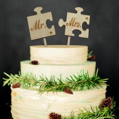 Mr. & Mrs. Wood Cake Topper (4 Pieces)