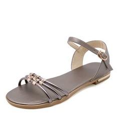 Femmes Similicuir Talon plat Sandales avec Strass chaussures
