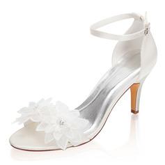 Kvinder silke lignende satin Stiletto Hæl Kigge Tå sandaler med Spænde Blomst