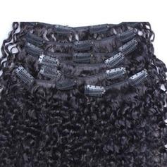 4A Nicht remy Kinky Curly Menschliches Haar Haarverlängerungen zum Anklammern 7PCS 100g