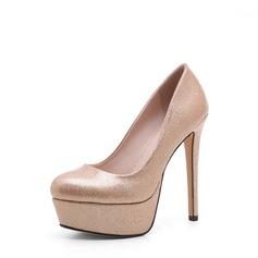Mulheres Couro Salto agulha Bombas Plataforma sapatos