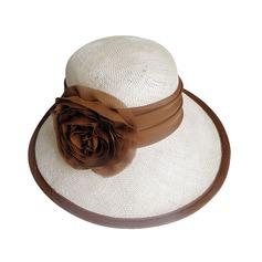 Señoras' Glamorosa Verano Batista con Flores de seda Sombrero de paja