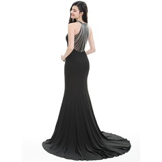 Trumpet/Mermaid Scoop Neck Sweep Train Jersey Prom Dress With Beading