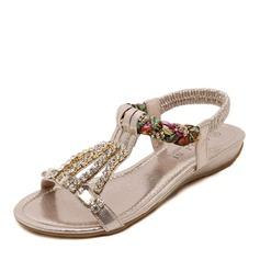 Women's Leatherette Flat Heel Flats Peep Toe Slingbacks With Crystal Pearl