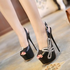 Women's Leatherette Chunky Heel Sandals Pumps Platform Peep Toe Slingbacks With Hollow-out shoes