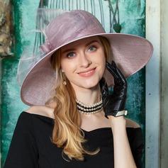 Damer' Klassisk stil Batist med Fjäder Diskett Hat