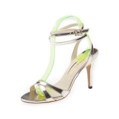 Mulheres Couro Salto agulha Sandálias Sapatos abertos com Fivela sapatos