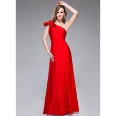 Trumpet/Sjöjungfru One-Shoulder Golvlång Jersey Festklänning med Svallande Krås