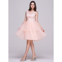 Vestidos princesa/ Formato A Decote redondo Coquetel Tule Vestido de boas vindas com Renda Beading lantejoulas