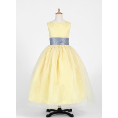 Ball Gown Ankle-length Flower Girl Dress - Taffeta/Organza Sleeveless Scoop Neck With Sash