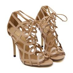 Donna Similpelle Tacco a spillo Stivali Punta aperta Stivali alla caviglia con Allacciato Cava-out scarpe