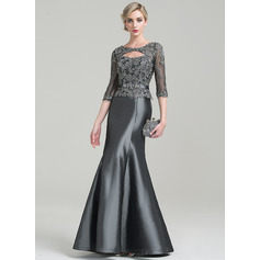 Trumpet/Mermaid Scoop Neck Floor-Length Taffeta Mother of the Bride Dress With Beading Appliques Lace Sequins (008085305)