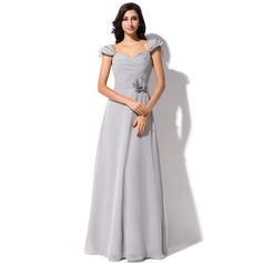 A-Line/Princess Sweetheart Floor-Length Chiffon Bridesmaid Dress With Flower(s) Bow(s) Cascading Ruffles