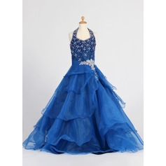 A-Line/Princess Floor-length Flower Girl Dress - Organza Sleeveless Halter With Ruffles/Sequins/Rhinestone (010007648)