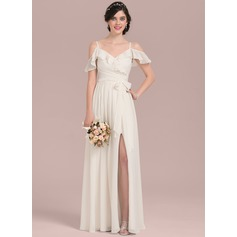 A-Line V-neck Floor-Length Chiffon Wedding Dress With Bow(s) Split Front Cascading Ruffles (002207435)
