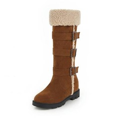 Women's Suede Wedge Heel Boots Mid-Calf Boots With Buckle shoes