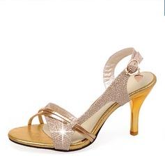 Frauen Kunstleder Stöckel Absatz Sandalen Absatzschuhe mit Schnalle Schuhe