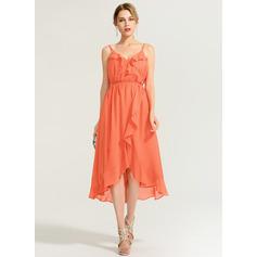 A-Line V-neck Asymmetrical Chiffon Cocktail Dress