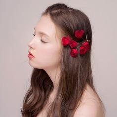 Precioso Aleación/Flores de seda Horquillas