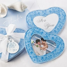 Heart Shaped Glass Coaster With Ribbons (Set of 2 pieces)