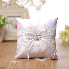 Grace Ring Pillow in Cloth With Bow/Rhinestones/Lace