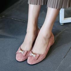 Женщины Замша Плоский каблук На плокой подошве Закрытый мыс с бантом обувь