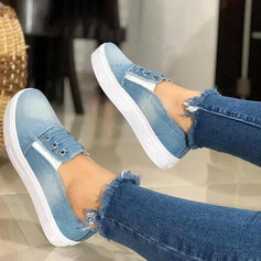 Women's Denim Flat Heel Flats shoes (086209594)