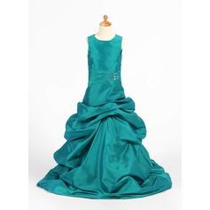 A-Line/Princess Floor-length Flower Girl Dress - Taffeta Sleeveless Scoop Neck With Ruffles/Beading/Pick Up Skirt