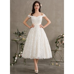 Ball-Gown/Princess Off-the-Shoulder Tea-Length Lace Wedding Dress With Bow(s)