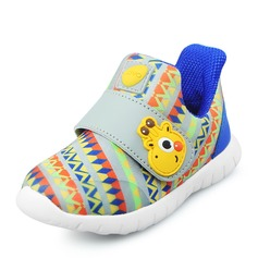 Girl's Unisex Leatherette Flat Heel Round Toe Closed Toe Sneakers Sneaker & Athletic With Velcro Animal Print