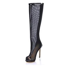 Kvinner Patentert Lær Stiletto Hæl Titte Tå Knehøye Støvler med Hul ut sko