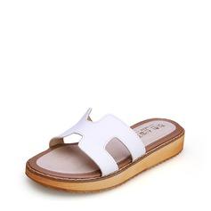 Femmes Similicuir Talon plat À bout ouvert Escarpins Chaussons avec Ouvertes chaussures