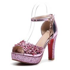 De mujer PVC Tacón ancho Sandalias Salón Plataforma Encaje con Cadena Flor zapatos