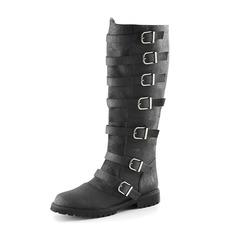 Женщины кожа Низкий каблук Ботинки с пряжка обувь