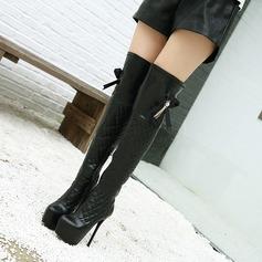 Frauen PU Stöckel Absatz Absatzschuhe Plateauschuh Stiefel über Knie mit Schnalle Reißverschluss Schuhe