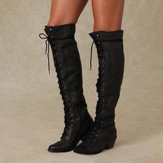 Donna Similpelle Tacco spesso Stiletto Stivali أحذية