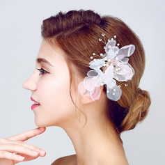 Elegante Pérolas de imitação/Flor de seda Flores & penas
