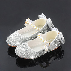Girl's Round Toe Sparkling Glitter Flower Girl Shoes With Bowknot Crystal Pearl (207224858)