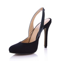 Suede Cone Heel Pumps Closed Toe Slingbacks shoes