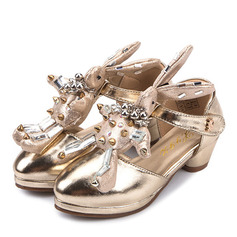 Girl's Closed Toe Microfiber Leather Low Heel Flats Flower Girl Shoes With Imitation Pearl Velcro Rivet