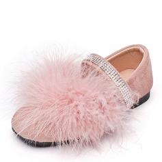 Flicka Stängt Toe Sammet platt Heel Platta Skor / Fritidsskor Flower Girl Shoes med Kardborre Kristall