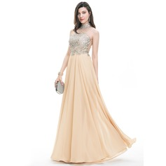 A-Line/Princess Scoop Neck High Neck Floor-Length Chiffon Prom Dress With Beading Sequins (018107790)