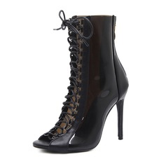 Women's Patent Leather PVC Stiletto Heel Pumps Boots Peep Toe Mid-Calf Boots With Zipper Lace-up shoes