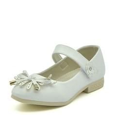 Fille de similicuir talon plat Bout fermé Chaussures plates avec Velcro Une fleur Tassel