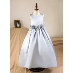 A-Line Floor-length Flower Girl Dress - Satin Sleeveless Square Neckline With Flower(s) (Petticoat NOT included)