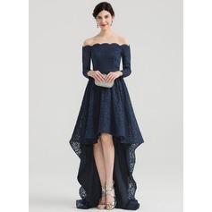 Áčkové Šaty Off-the-rameno Asymetrické Krajka Večerní šaty
