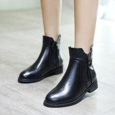 Frauen PU Flascher Absatz Flache Schuhe Stiefel mit Schnalle Reißverschluss Schuhe