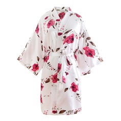 Bride Bridesmaid Polyester With Short Floral Robes Kimono Robes (248150353)